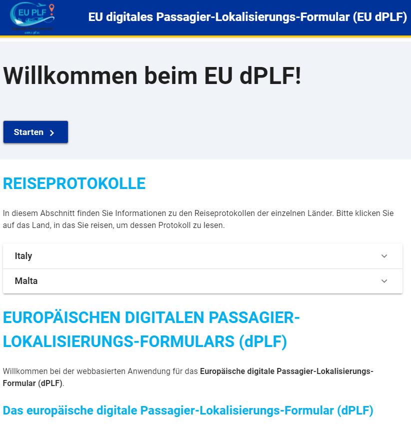Screenshot zum Ausfüllen des euplf Einreiseformulars
